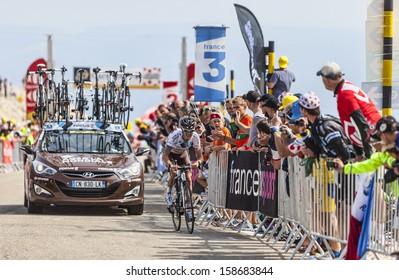 LE MONT VENTOUX, FRANCE-JUL 14:The French cyclist John Gadret (Ag2r-La Mondiale Team), climbing the last kilometer of the ascension to Mont Ventoux in the stage 15 of Le Tour de France on July 14 2013