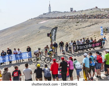 LE MONT VENTOUX, FRANCE-JUL 14:The cyclists Christophe Riblon and Nicolas Roche , climbing the last kilometer of the ascension to Mont Ventoux in the stage 15 of Le Tour de France on July 14 2013