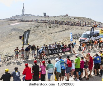 LE MONT VENTOUX, FRANCE-JUL 14:The French cyclist Sylvain Chavanel, climbing the last kilometer of the ascension to Mont Ventoux in the stage 15 of Le Tour de France on July 14 2013