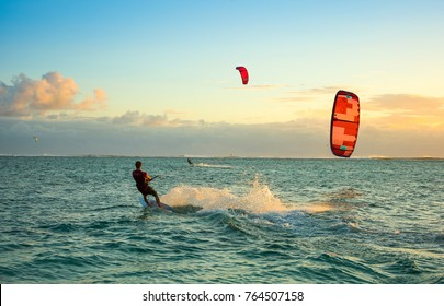 Le Morne, Mauritius - 30 September 2017: Kitesurfers on the Le Morne beach - famous kite spot in Mauritius island