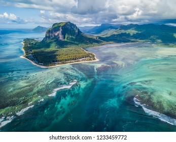 Le Morne underwater waterfall aerial view