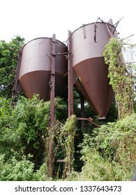 Le Moule, Guadeloupe/France - 02/09/2019 : Vestige of the vats of the candy factory Blanchet in Guadeloupe in the French West Indies