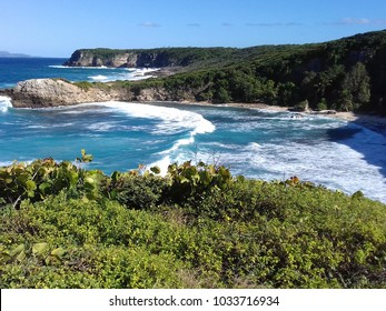 Le Moule, Guadeloupe/french west indies - 02/04/2018 - Natural site of the Crown of conchou of the Mold, Atlantic side in Guadeloupe. French West Indies