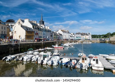 LE PALAIS, BEL-ÎLE-EN-MER, FRANCE, JULY 17, 2019 - View on the harbour of Le Palais in Belle-Île-en-Mer