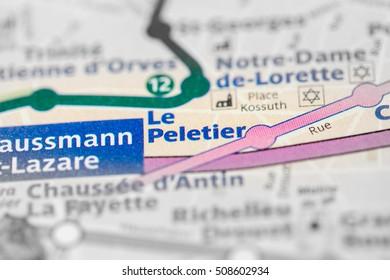 Le Peletier Station. 7th Line. Paris. France