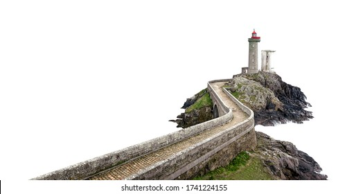 Le Petit Minou lighthouse (Phare du Petit Minou) near Brest city, Bretagne, France, isolated on white background