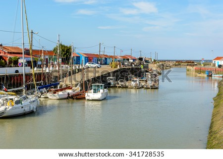 Le Petit Village, France 5 August 2015: Oyster farming site on Ile d Oleron, Charente Martime at high tide