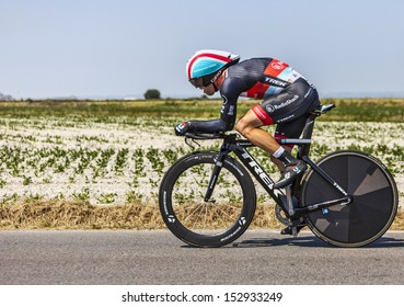 LE PONT LANDAIS,FRANCE-JUL 10:The Belgian cyclist Jan Bakelants from RadioShack-Leopard Team  cycling during the stage 11(time trial Avranches -Mont Saint Michel) of Le Tour de France on July 10, 2013