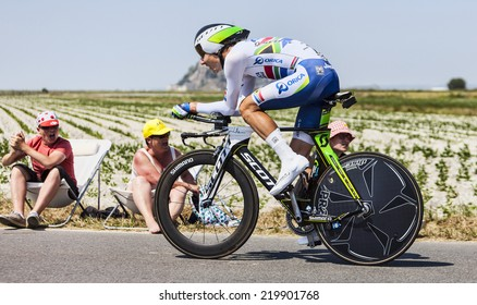 LE PONT LANDAIS,FRANCE-JUL 10:The South African cyclist Daryl Impey from Orica-GreenEDGE Team cycling during the stage 11(time trial Avranches -Mont Saint Michel) of Le Tour de France on July 10, 2013