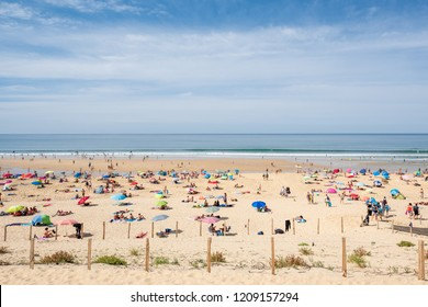 LE PORGE, FRANCE - SEPTEMBER 16, 2018 : Even at the end of the summer, the long beach of Le Porge, near Lacanau on the Atlantic coast, is very popular with tourists and the inhabitants of Bordeaux.