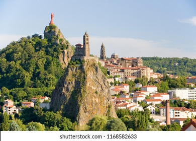 Le Puy en Velay and Chapelle Saint Michel d'Aiguilhe, Auvergne, France.