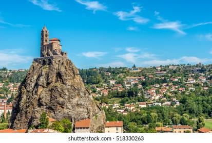 LE PUY EN VELAY,FRANCE - SEPTEMBER 2,2016 - View at the Chapel Saint Michel d Aiguilhe near Le Puy en Velay. Le Puy en Velay is a commune in the Haute Loire department in south-central France.