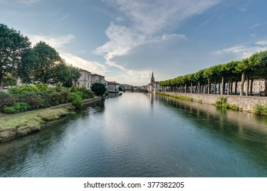 Le Salat river in Saint Girons, Ariege, Midi Pyrenees, southern France