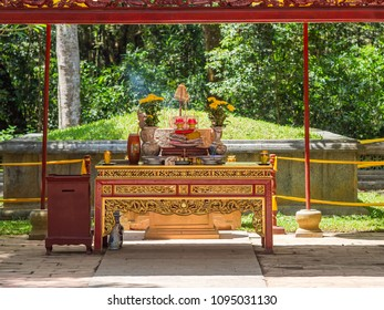 The Le Thai To mausoleum at Lam Kinh temple in Xuan Lam and Lam Son townlet of Tho Xuan district, Thanh Hoa, Vietnam. The temple was built by national hero Le Loi, Le Thai To, during the 15th century.