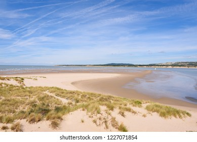 Le Touquet Paris Plage. Bay of Clanche. Beach with Sand dunes near Le Touquet Paris Plage and Etaples on the French coast in Le Touquet, Pas de Calais, Hauts de France. France.