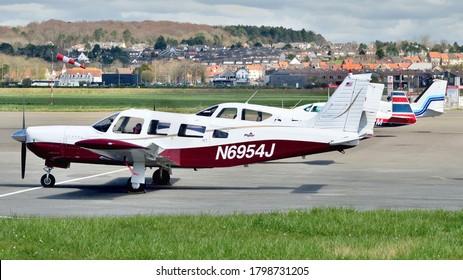 Le Touquet, Pas-de-Calais/France - April 5 2018: A Piper PA-32 Lance parked on the ramp