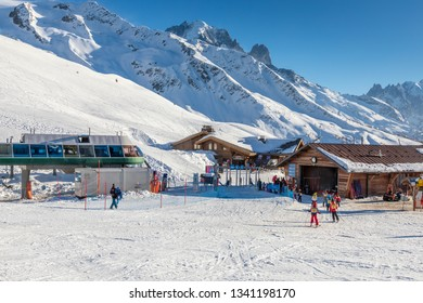 Le Tour ski resort in the French alps at the end of the skiing day. Argentiere,France - February 25th, 2019