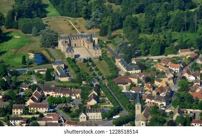 Le Tremblay sur Meauldre, France - july 7 2017 : aerial photography of the classical castle and the village