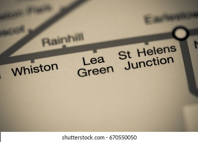 Lea Green Station. Liverpool Metro map.