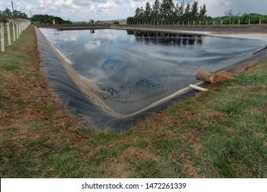 Leachate pond - slurry lake. Sanitary landfill of the city of Goiania - Brazil