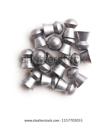 Lead Airgun Pellets Isolated On White Stock Photo (Edit Now