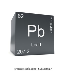 lead chemical element symbol from the periodic table displayed on black cube 3d render - Periodic Table Symbol Pb