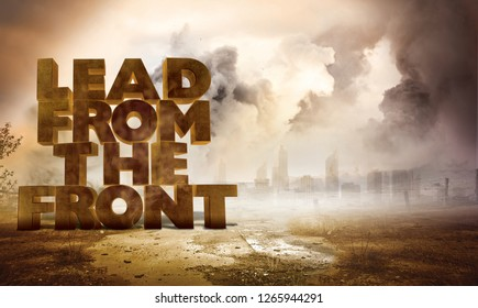 Lead from the front 3d text with grunt background