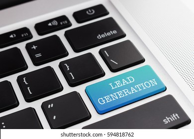 LEAD GENERATION: Close up green button keyboard computer. Digital Business and Technology Concept.