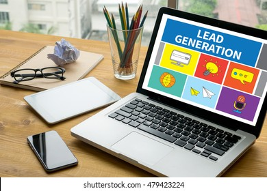 LEAD GENERATION Laptop on table. Warm tone