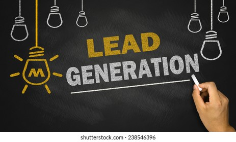 lead generation on blackboard background