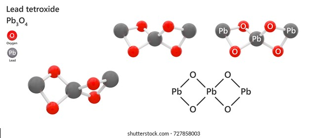 Lead Tetroxide (Pb3O4 or O4Pb3), also called minium, red lead or triplumbic tetroxide, is a bright red or orange crystalline. 3d illustration. The molecule is represented in different structures.