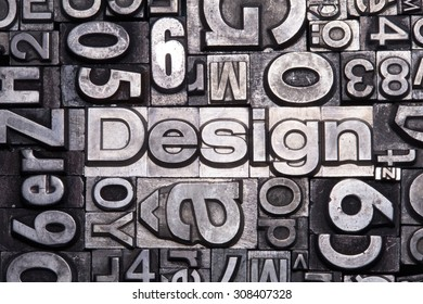 lead type letters form the word design