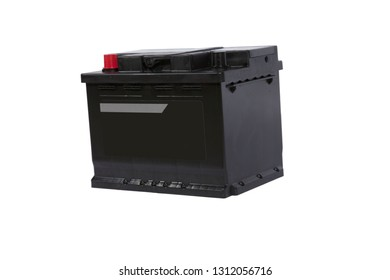 Lead-acid battery on a white background for a car