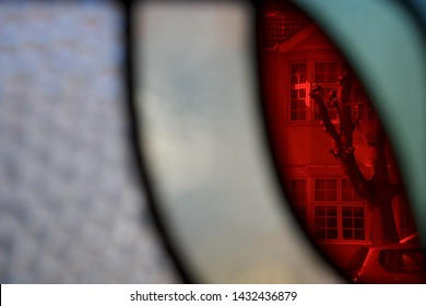 Leaded lights: a close up view through the front door of a 1930's house in north London