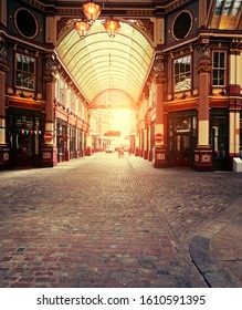 The Leadenhall covered marketplace in London, focal point is on the front cobbled stones