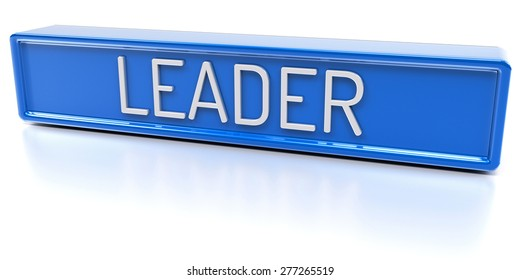 Leader - Blue banner with text - Isolated 3D Render