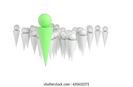 Leader businessman concept, 3d illustration