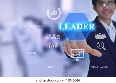 LEADER concept presented by  businessman touching on  virtual  screen