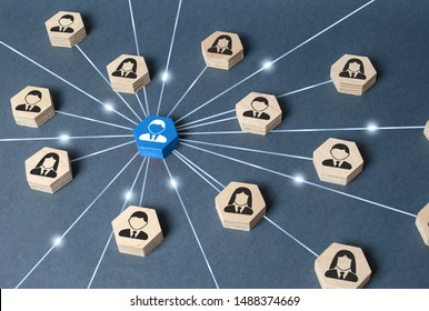 The leader is connected with employees by a wide network of lines. At the center of a complex large system. Communication social. Cooperation, collaboration. Project leadership personnel management