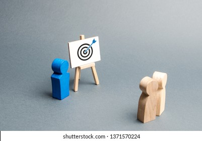 The leader explains employee tactics of advertising targeting. Training, briefing. Search strategies for effective advertising campaigns, customer reach. Business processes, hiring employees. - Shutterstock ID 1371570224