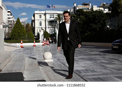 Leader of the Greek political party Syriza Alexis Tsipras arrives to attend in parliamentary session in Greek Parliament in Athens, Greece on Dec. 29, 2014