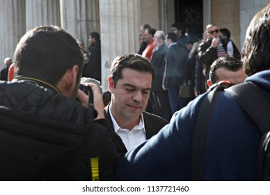 Leader of the Greek political party Syriza Alexis Tsipras leaves the Greek Parliament in Athens, Greece on Dec. 29, 2014