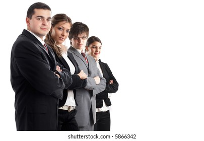 Leader and his team - Young attractive business people in a row