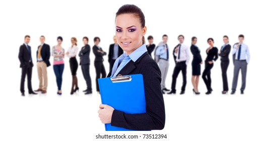 Leader holding a clipboard with business team behind, isolated