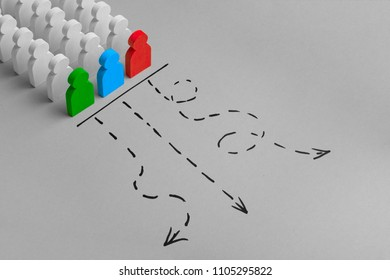 The leader leads the team on the right path towards the goal. Choice of the road. Concept