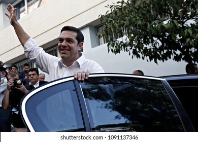 Leader of left-wing Syriza party and former Prime Minister Alexis Tsipras arrives at a polling station in Athens, Sunday, Sept. 20, 2015.