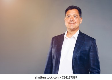 Leader Looking into successful future. Mature confident business man dressed well studio portrait.