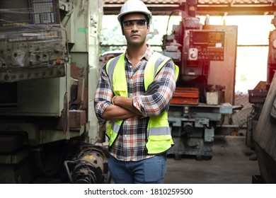 Leader or manager meeting with engineer and technician while line walk in factory workplace, team working at maintenance machine shop