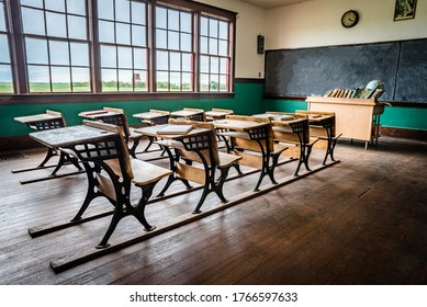 Leader, SK/Canada- June 19, 2020: The interior of an old, rural one-room schoolhouse on the prairies near Leader, Saskatchewan
