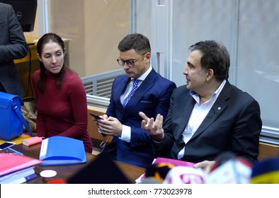 Leader of Ukrainian opposition Mikheil Saakashvili (right) getting advise from his counsel during his trial in Pechersky district court. December 11, 2017. Kiev, Ukraine.